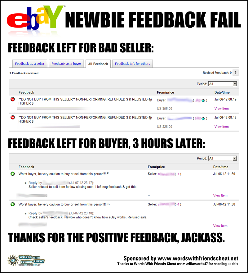 eBay Newbie Feedback FAIL